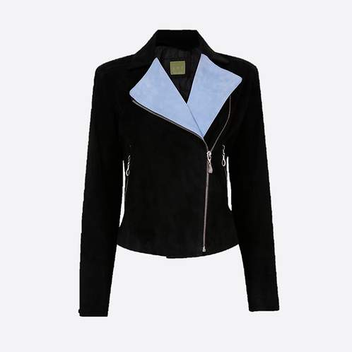Softest Suede Leather Biker Jacket - Black/Blue