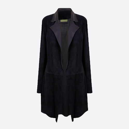 Suede Unstructured Jacket - Navy