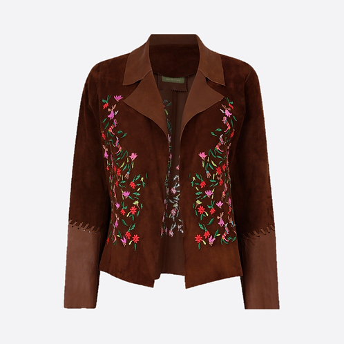 Suede Leather Short Embroidered Jacket - Brown