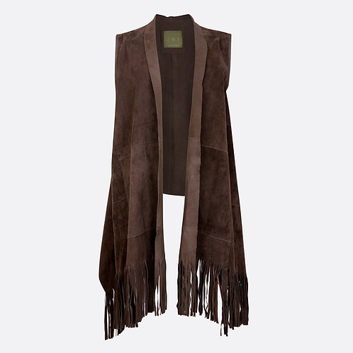 Suede Leather Sleeveless Jacket Fringe Shawl Front - Brown