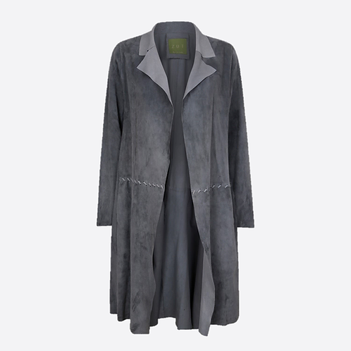 Suede Unstructured Jacket with Stitch Detail - Grey