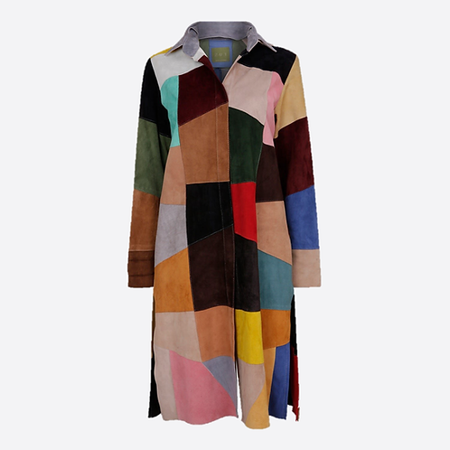 Patchwork Suede Coat - Multicolour 2