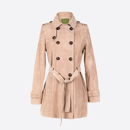 Suede Leather Short Trench Coat - Beige