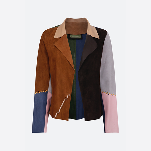 Suede Leather Classic Short Jacket with Stitch Detail - Patchwork 2