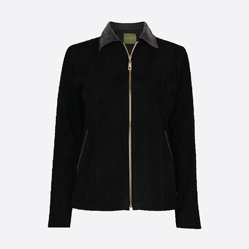 Suede Leather Fitted Jacket with Leather Collar With Zip Opening