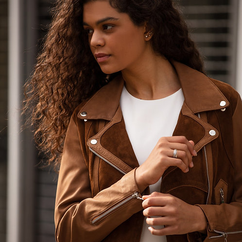 Classic Combined Suede & Leather Biker Jacket With Belt & Buckle - Brown