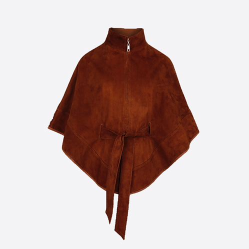 Suede Leather Cape With Belt - Taupe