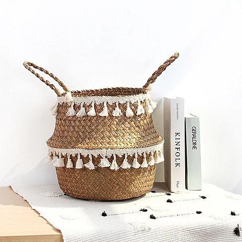 White Tassel Basket