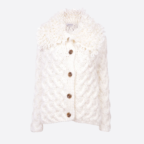 Alpaca Blend Hand Knitted Cable Stitch Cardigan With Loop Collar -White