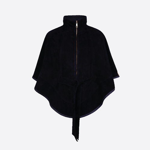 Suede Leather Cape With Belt - Black