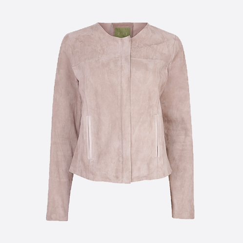 Suede Leather Fitted Collarless Jacket with Zip Opening