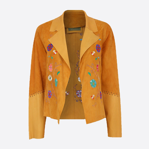 Suede Leather Short Embroidered Jacket - Yellow
