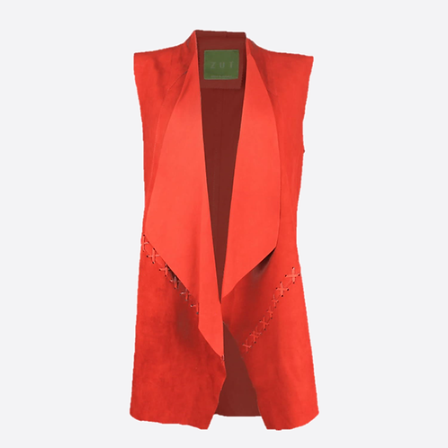 Suede Leather Sleeveless Jacket - Red