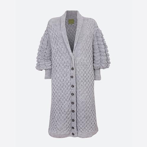 Alpaca Blend Hand Knit Cable Long Cardigan - Soft Grey
