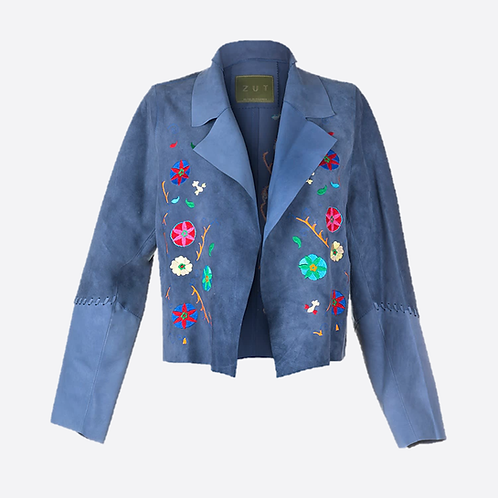 Suede Leather Short Embroidered Jacket - Sky Blue