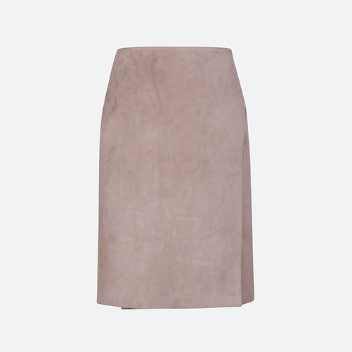 Suede Leather Classic Fitted Wrap Skirt With Tie Belt