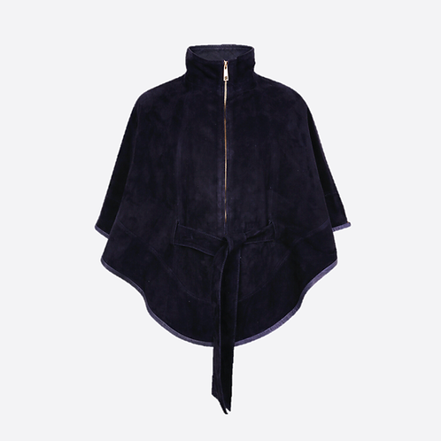 Suede Leather Cape With Belt - Navy