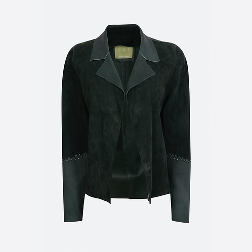 Suede Leather Classic Short Jacket - Emerald Green
