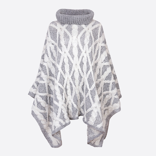 Alpaca Hand Knitted Cable Roll Neck Oversized Poncho - Grey
