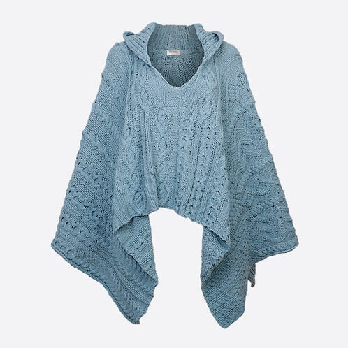 Hand Knitted Cable Hooded Poncho - Duck Egg Blue