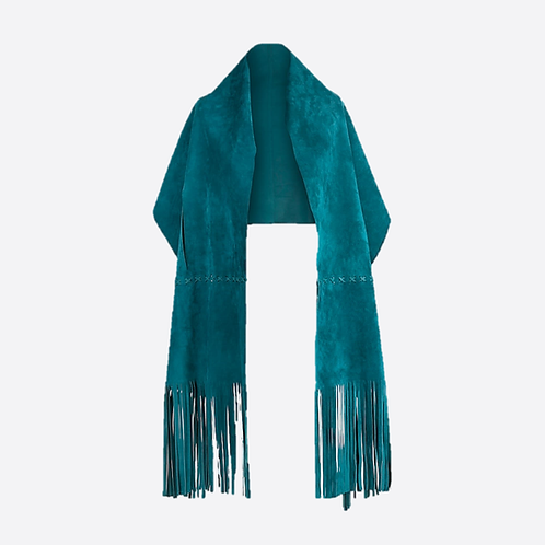 Suede Leather Stole Wrap With Wrist Or Belt Slits - Turquoise