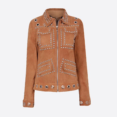 Suede Leather Studded Fitted Biker Jacket - Honey