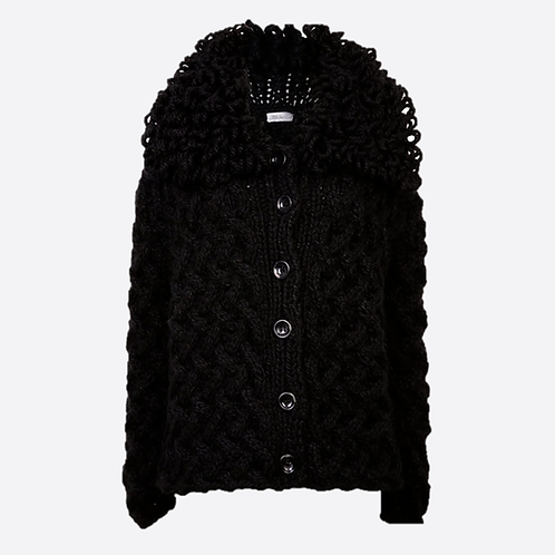 Alpaca Blend Hand Knitted Cable Stitch Cardigan With Loop Collar - Black