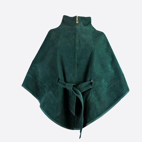 Suede Leather Cape With Belt - Emerald Green