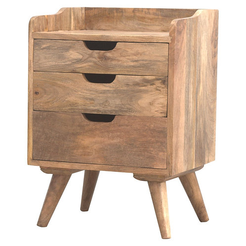 Three Drawer Gallery Back Bedside Table