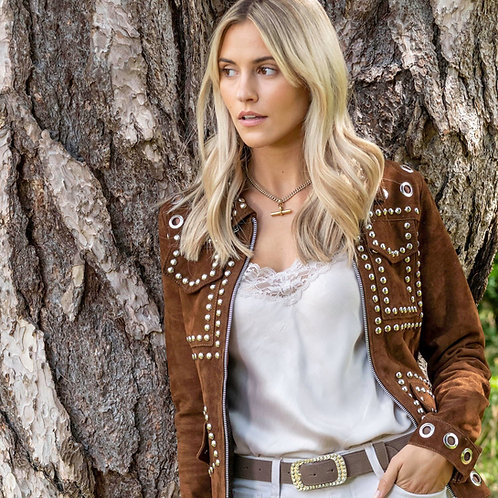 Suede Leather Studded Fitted Biker Jacket - Coffee