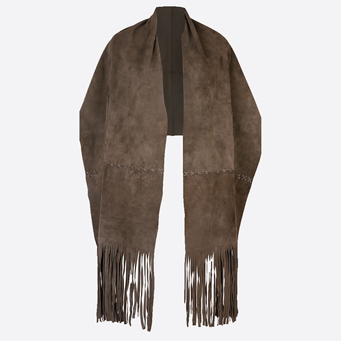 Suede Leather Stole Wrap With Wrist Or Belt Slits - Kharki