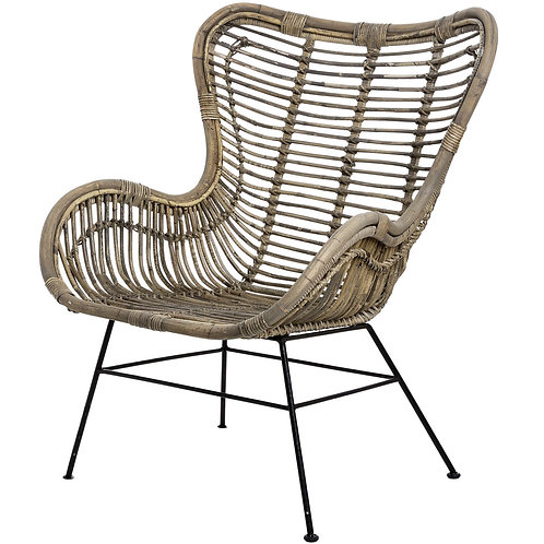 Full Rattan Winged Chair