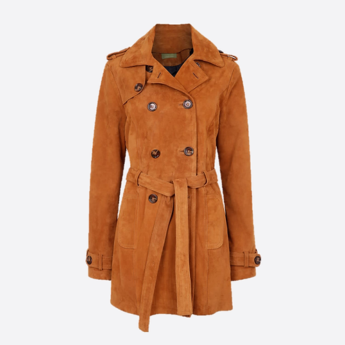 Suede Leather Short Trench Coat - Honey