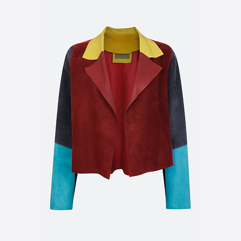 Suede Leather Classic Short Jacket - Patchwork 2