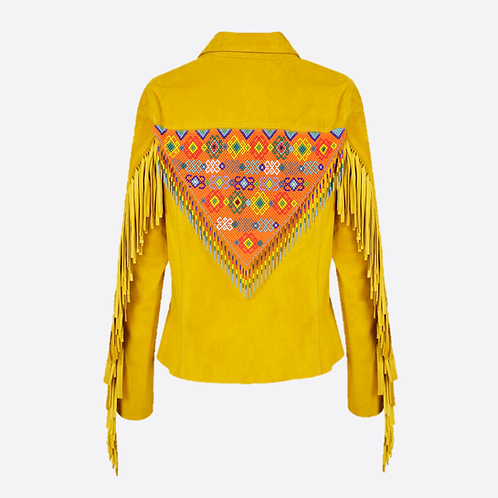 Hand Beaded & Fringed Suede Leather Fitted Jacket - Yellow