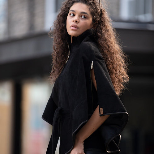 Suede Leather Cape With Belt