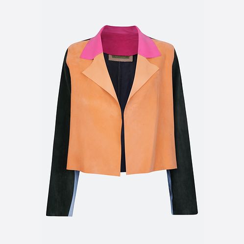 Suede Leather Classic Short Jacket - Patchwork 1