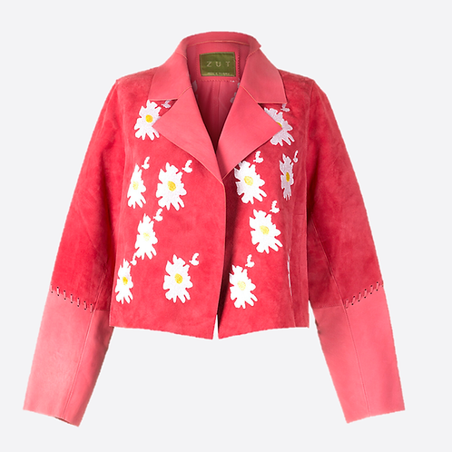 Suede Leather Short Embroidered Jacket - Pink