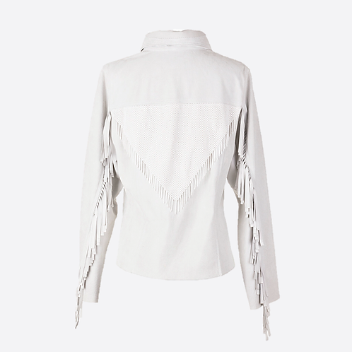 Hand Beaded & Fringed Suede Leather Fitted Jacket - White