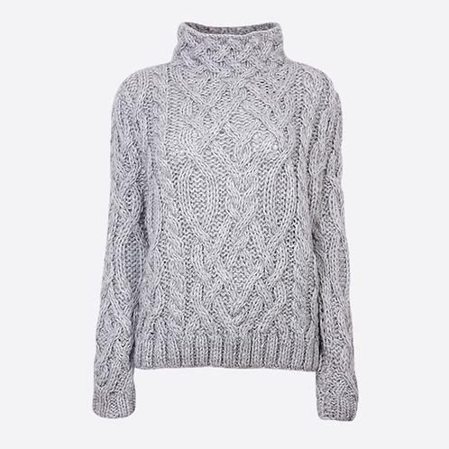 Alpaca Hand Knitted High Neck Sweater - Grey