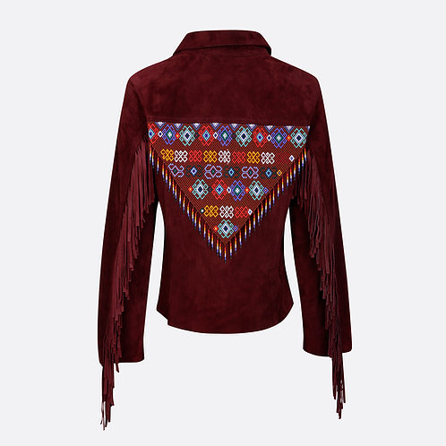Hand Beaded & Fringed Suede Leather Fitted Jacket - Burgundy