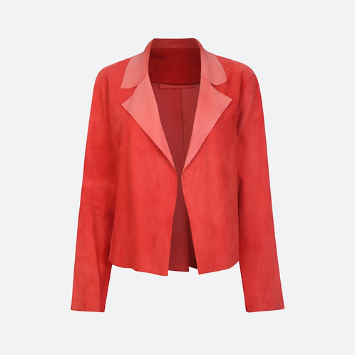 Suede Leather Classic Short Jacket - Strawberry Red
