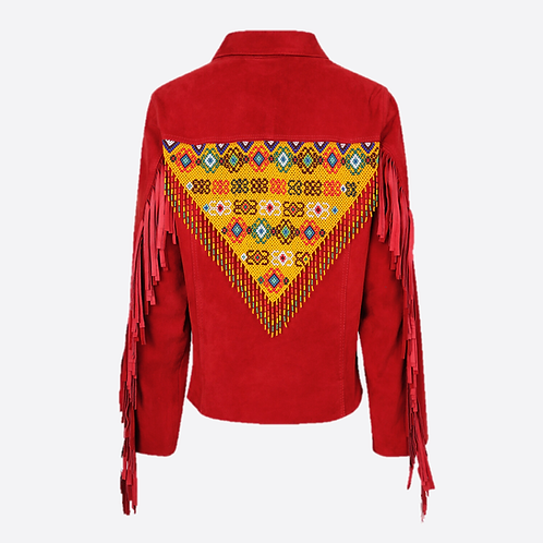 Hand Beaded & Fringed Suede Leather Fitted Jacket - Red