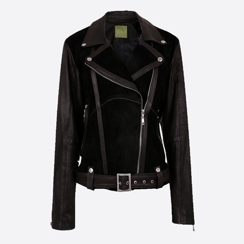 Classic Combined Suede & Leather Biker Jacket With Belt & Buckle - Black