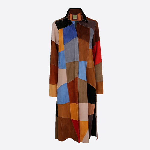 Patchwork Suede Coat - Multicolour 1