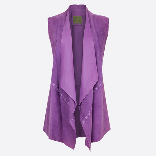 Suede Leather Sleeveless Jacket - Lilac