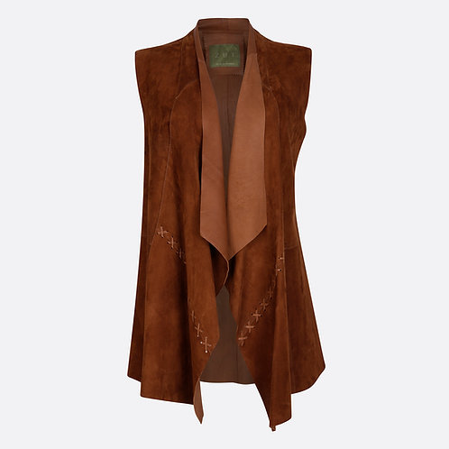 Suede Leather Sleeveless Jacket - Brown