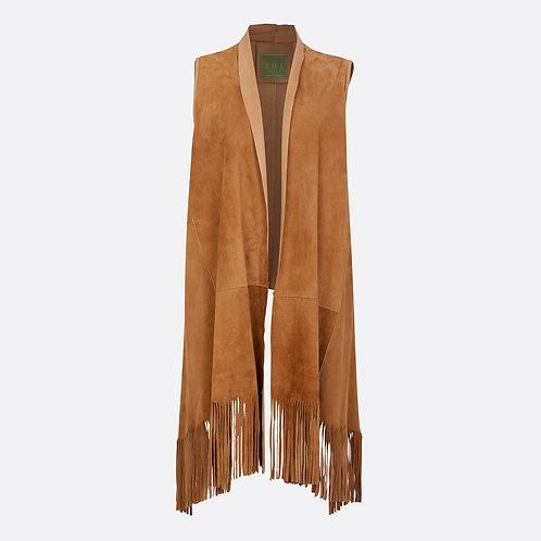 Suede Leather Sleeveless Jacket Fringe Shawl Front - Honey