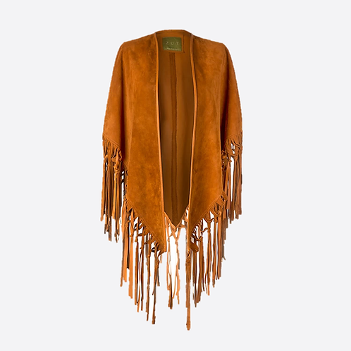 Suede Leather Knotted Fringe Shawl - Honey