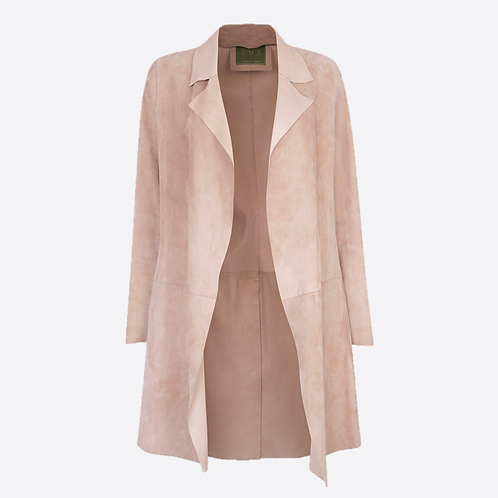 Suede Unstructured Jacket - Beige